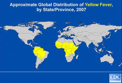 Karte: Annähernde Verteilung von Gelbfieber, Stand 2007